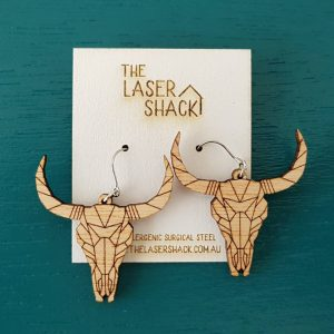 The Laser Shack Earrings GeoZoo Bullskull