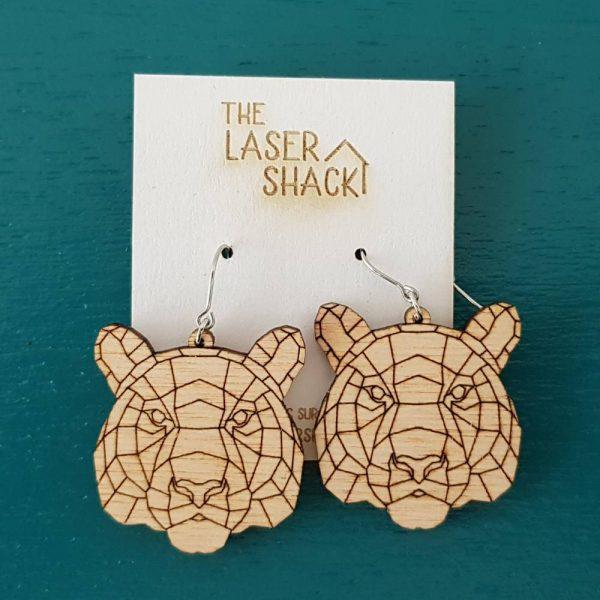 The Laser Shack Earrings GeoZoo Tiger