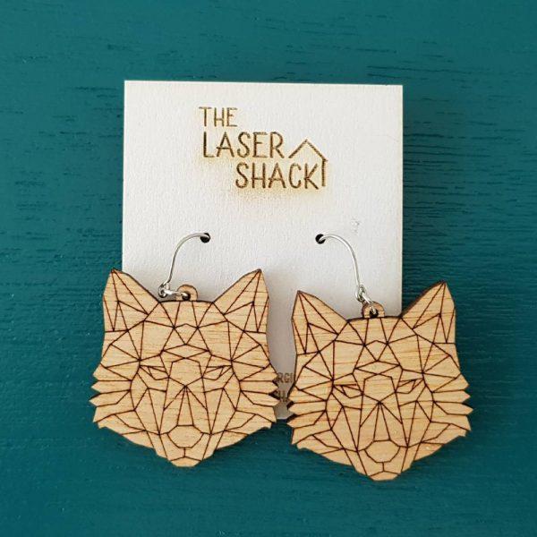 The Laser Shack Earrings GeoZoo Wolf