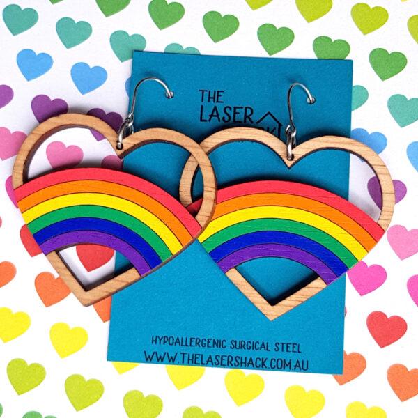 The Laser Shack Earrings Rainbow Hoop Heart