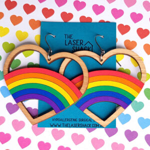 The Laser Shack Earrings Rainbow Hoop Heart