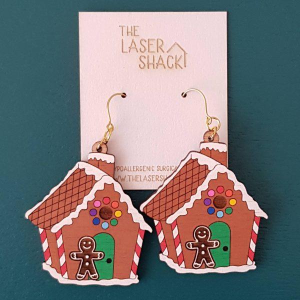 The Laser Shack Earrings Gingerbread House