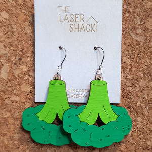 The Laser Shack Earrings Broccoli Colour