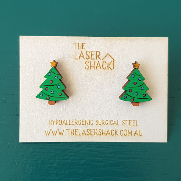 The Laser Shack Studs Christmas Trees Coloured